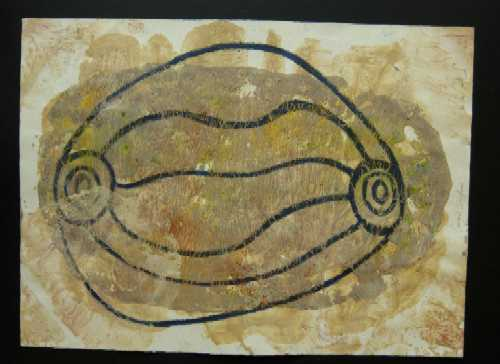 Aboriginal Art - Claypan, Songlines (2004) 1 of 8