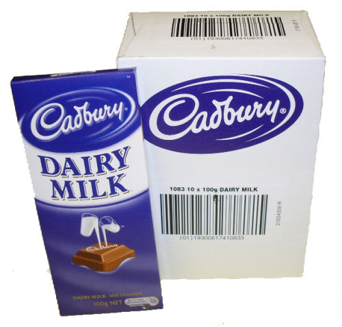 Box: Cadbury Dairy Milk Blocks 10x100g