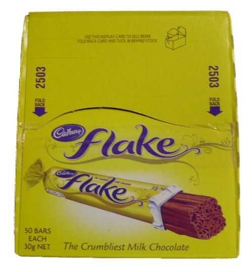 Box: Cadbury Flake Milk Choc Bars 50 bars x 30g