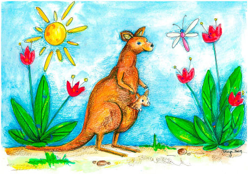5-Pack Greeting Cards - Kangaroo with Joey