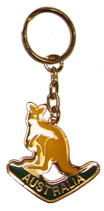 Key Ring Metallic Kangaroo and Boomerang