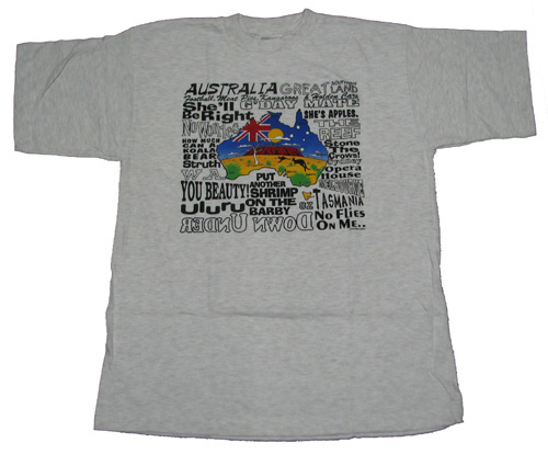 T-Shirt Aussie Slang and Map